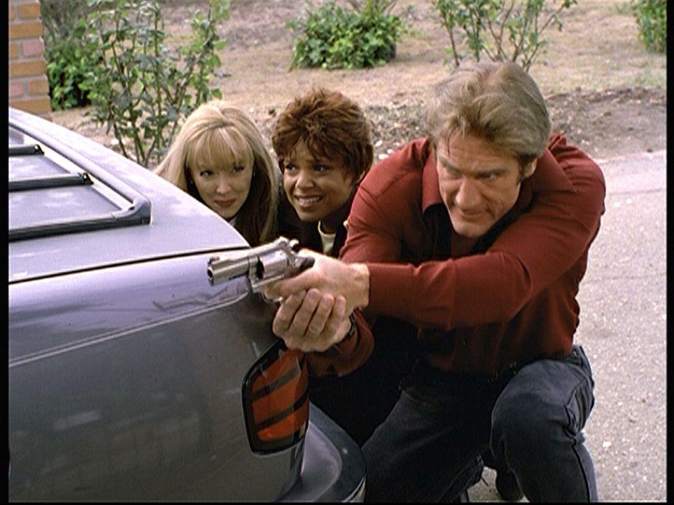 Die Krimiautorin Kay Ludlow (Shelley Long, l.), Amanda (Victoria Rowell, M.) und Steve (Barry Van Dyke, r.) werden von Ludlows Kollegen beschossen,... - Bildquelle: Viacom