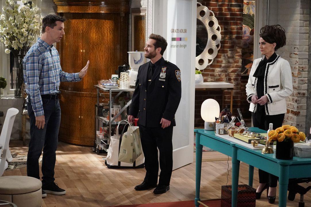 Wird es Jack (Sean Hayes, l.) schließlich zum Verhängnis, dass er Drew (Ryan Pinkston, M.) vorgespielt hat, dass ausgerechnet Karen (Megan Mullally,... - Bildquelle: Chris Haston 2017 NBCUniversal Media, LLC