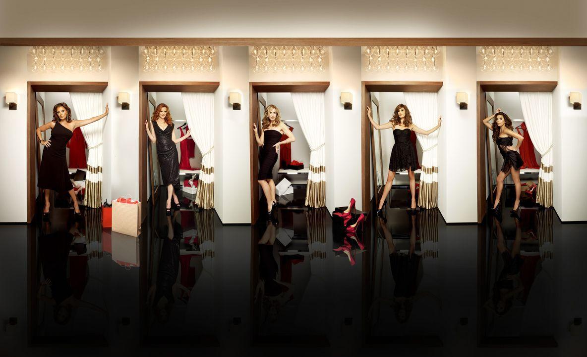 (8. Staffel) - Neue Geheimnisse, neue Nachbarn und ein Mord: Lynette (Felicity Huffman, M.), Bree (Marcia Cross, 2.v.l.), Gabrielle (Eva Longoria, r... - Bildquelle: ABC Studios
