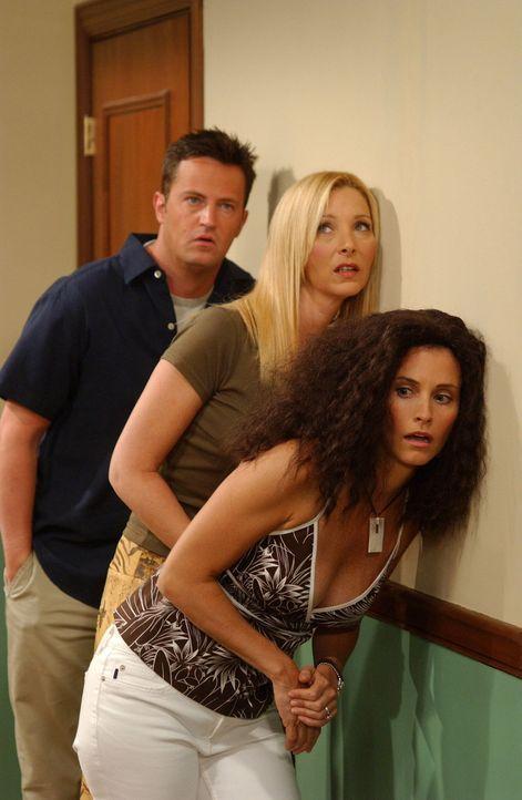 Wer wird denn da von Monica (Courteney Cox, r.), Chandler (Matthew Perry, l.) und Phoebe (Lisa Kudrow, M.) belauscht? - Bildquelle: 2003 Warner Brothers International Television
