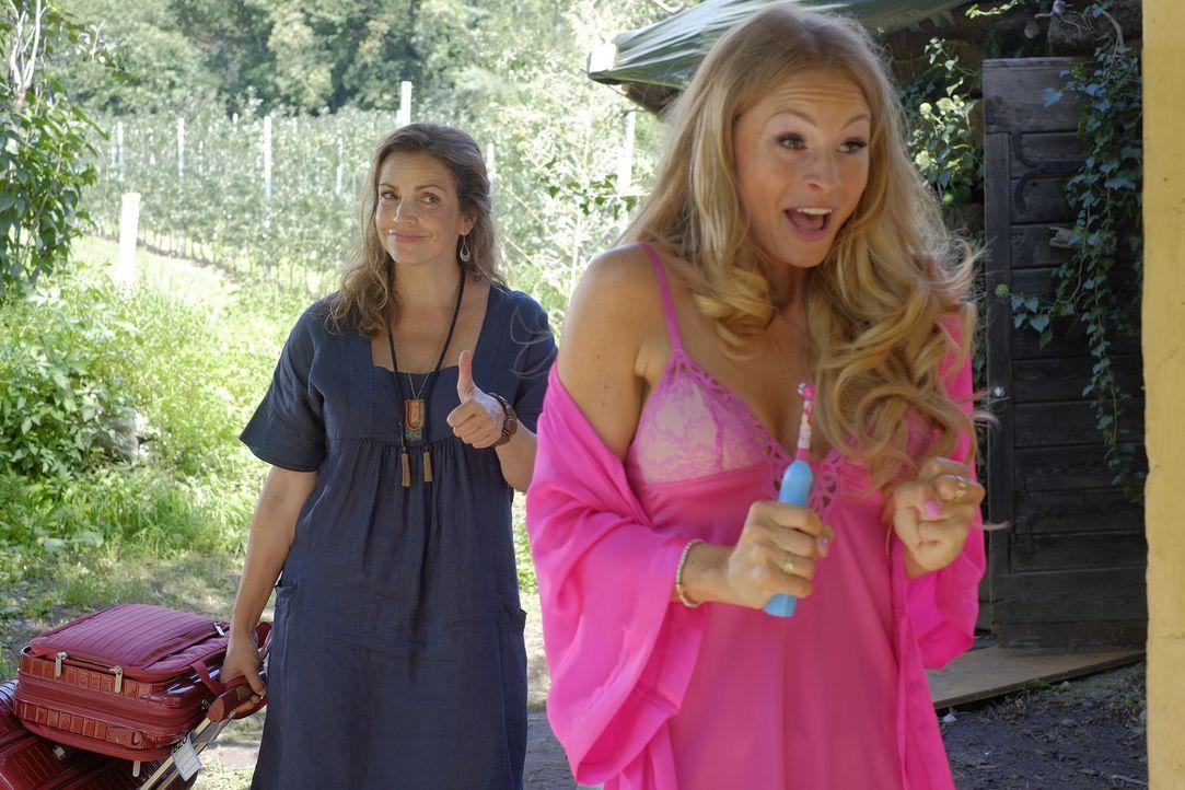 Perfekte Rache: Claudia (Rebecca Immanuel, l.) gibt Amanda (Jana Julie Kilka, r.) einen Tipp, der voll daneben geht ... - Bildquelle: Jacqueline Krause-Burberg SAT.1