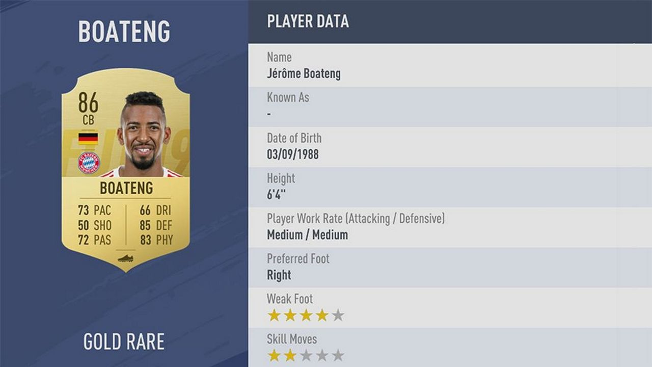 Jérôme Boateng - Rating: 86 - Bildquelle: EA Sports
