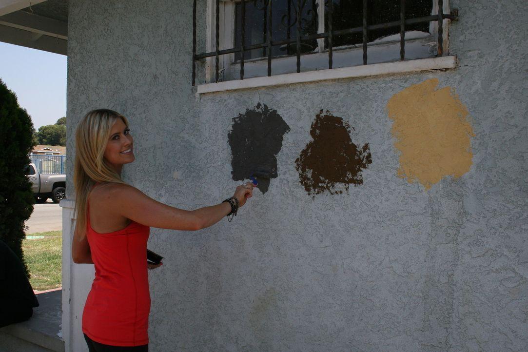 Christina El Moussa macht den Farbtest, denn nur mit der perfekten Wahl werden sie auch einen perfekten Gewinn mit dem Hausverkauf machen können ... - Bildquelle: 2014,HGTV/Scripps Networks, LLC. All Rights Reserved