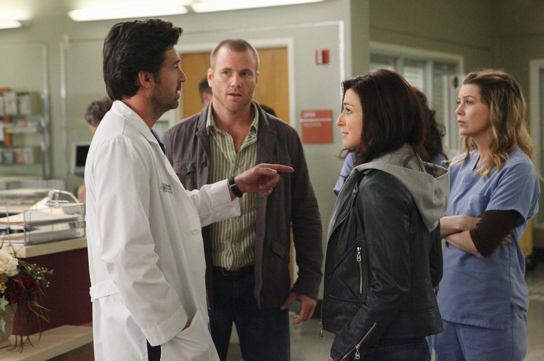 Amelia (Caterina Scorsone, 2.v.r.), Dereks (Patrick Dempsey, l.) Schwester taucht mit dem Gehirntumorpatienten Todd (Sean Carrigan, 2.v.l.) im Seatt... - Bildquelle: ABC Studios