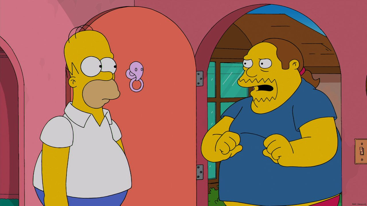 Sucht Rat bei Homer Simpson (l.): der dicke, unbeholfene Comicverkäufer von Springfield, der in die hübsche Japanerin Kumiko verliebt ist ... - Bildquelle: 2013 Twentieth Century Fox Film Corporation. All rights reserved.