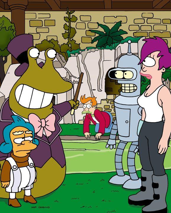 """Fry (M.) gewinnt eine Reise in die Herstellerfabrik des Getränks """"Slurm"""". Leela (r.) und Bender (2.v.r.) begleiten ihn. - Bildquelle: und TM Twenthieth Century Fox Film Corporation - Alle Rechte vorbehalten"""