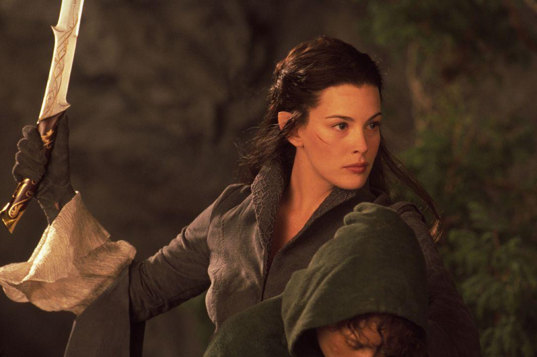 Arwen (Liv Tyler) gelingt es, Frodo vor einem Angriff der Nazgul zu schützen. Sie bringt ihn ins sichere Bruchtal ... - Bildquelle: Warner Brothers