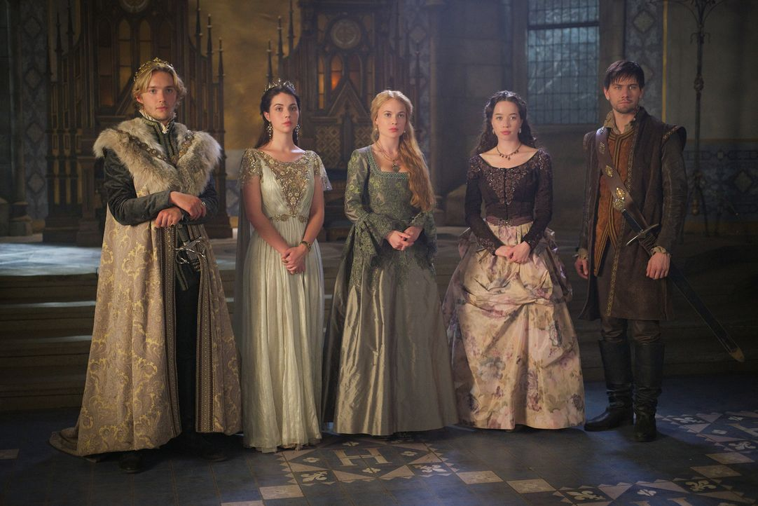 Francis (Toby Regbo, l.), Mary Stuart (Adelaide Kane, 2.v.l.), Lady Greer (Celina Sinden, M.), Lady Lola (Anna Popplewell, 2.v.r.) und Sebastian (To... - Bildquelle: Sven Frenzel 2015 The CW Network, LLC. All rights reserved.
