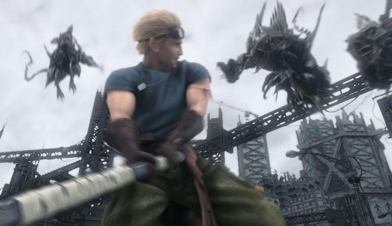Cid hilft seinem alten Freund Cloud dabei, die Kinder aus den Fängen der Entführer zu befreien! - Bildquelle: 2005 Square Enix Co., LTD. All Rights Reserved.