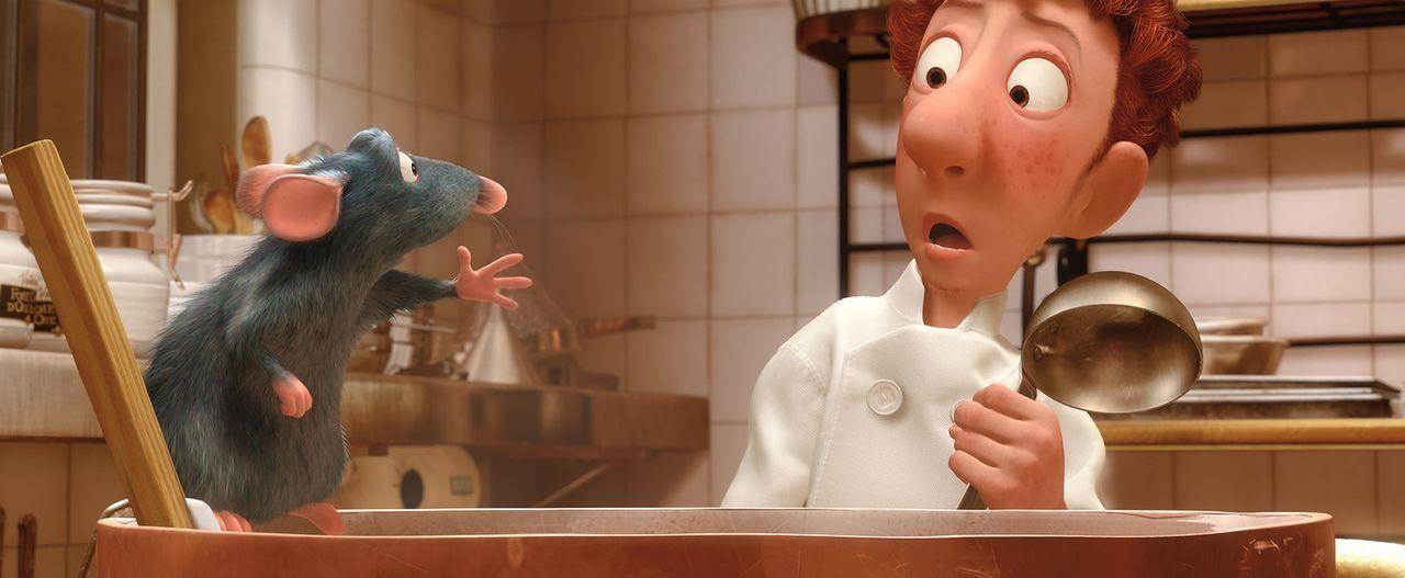 Der Küchenjunge Linguini staunt nicht schlecht, als er eine Ratte beim Kochen feinster Gerichte erwischt ... - Bildquelle: Disney/Pixar.  All rights reserved