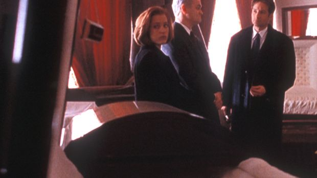 Mulder (David Duchovny, r.) und Scully (Gillian Anderson, l.) sind erstaunt,...