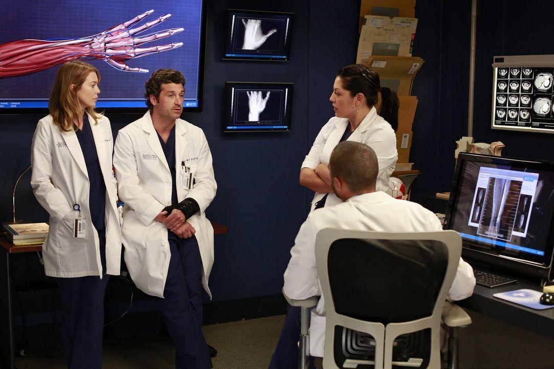 Während Callie (Sara Ramirez, r.) und Jackson (Jesse Williams, vorne) versuchen Derek (Patrick Dempsey, 2.v.l.) zu einer riskanten Operation zu üb... - Bildquelle: ABC Studios