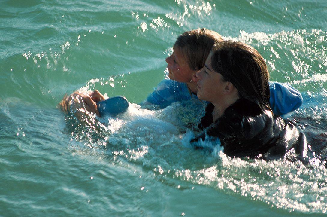 Rettung geglückt: Gesund und glücklich lassen sich Nina (Louisa Herfert, l.) und (Philipp Danne, r.) von Domino nach Hause ziehen ... - Bildquelle: Leslie Haslam ProSieben