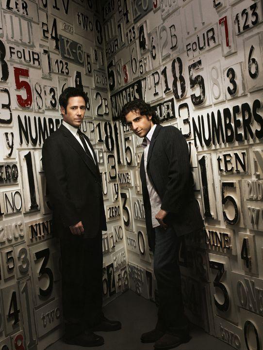 (3. Staffel) - FBI-Agent Don Eppes (Rob Morrow, l.) engagiert in schwierigen Fällen seinen Bruder Charlie (David Krumholtz, r.), einen genialen Math... - Bildquelle: Paramount Network Television