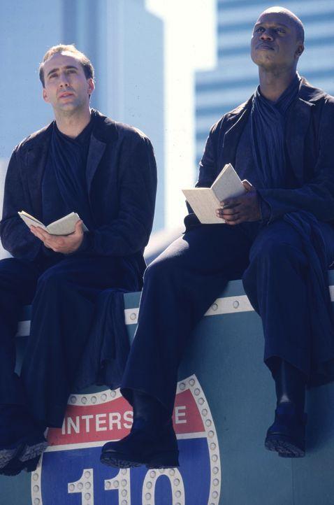 Der erfahrenen Engel Cassiel (Andre Braugher, r.) berät Seth (Nicolas Cage, l.) über die Wahrnehmung der Menschen. Er eröffnet Seth, dass es für ihn... - Bildquelle: Warner Bros.