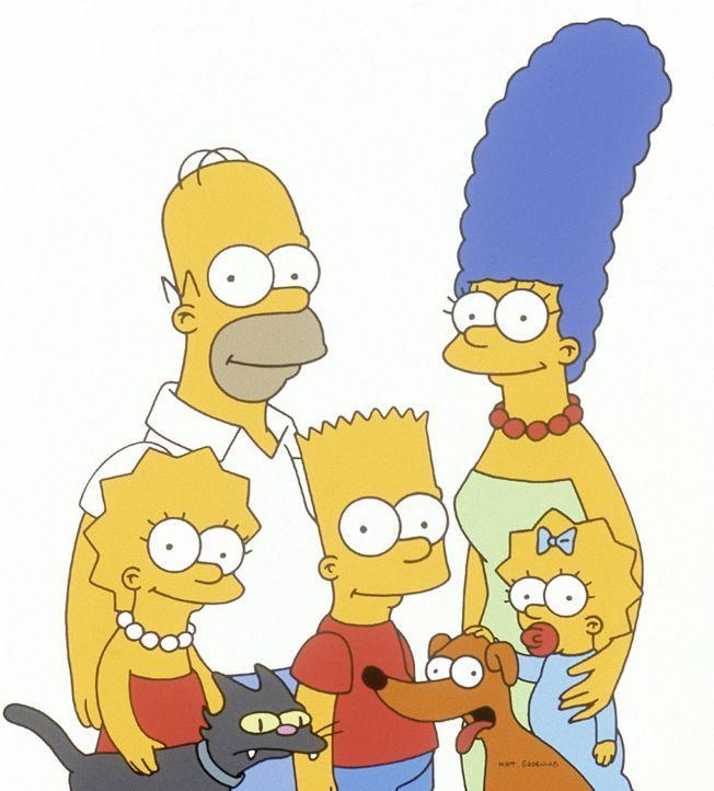 (12. Staffel) - Die Simpsons sind ein Herz und eine Seele: (v.l.n.r.) Lisa, Homer, Bart, Marge und Maggie mit Katze und Hund. - Bildquelle: und TM Twentieth Century Fox Film Corporation - Alle Rechte vorbehalten
