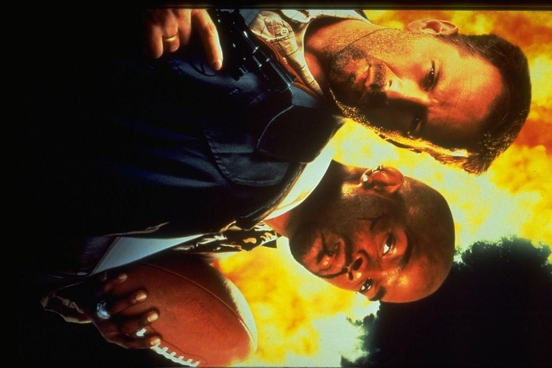 Widerwillig hilft der versoffene Privatdetektiv Joe Hallenbeck (Bruce Willis, l.) dem Ex-Footballstar Jimmy Dix (Damon Wayans, r.), die Mörder seine... - Bildquelle: Warner Bros.