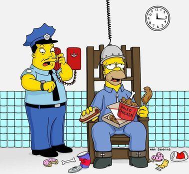 Die Simpsons - Um Marge zu retten, nimmt Homer (r.) den Mord an der alten Dam...