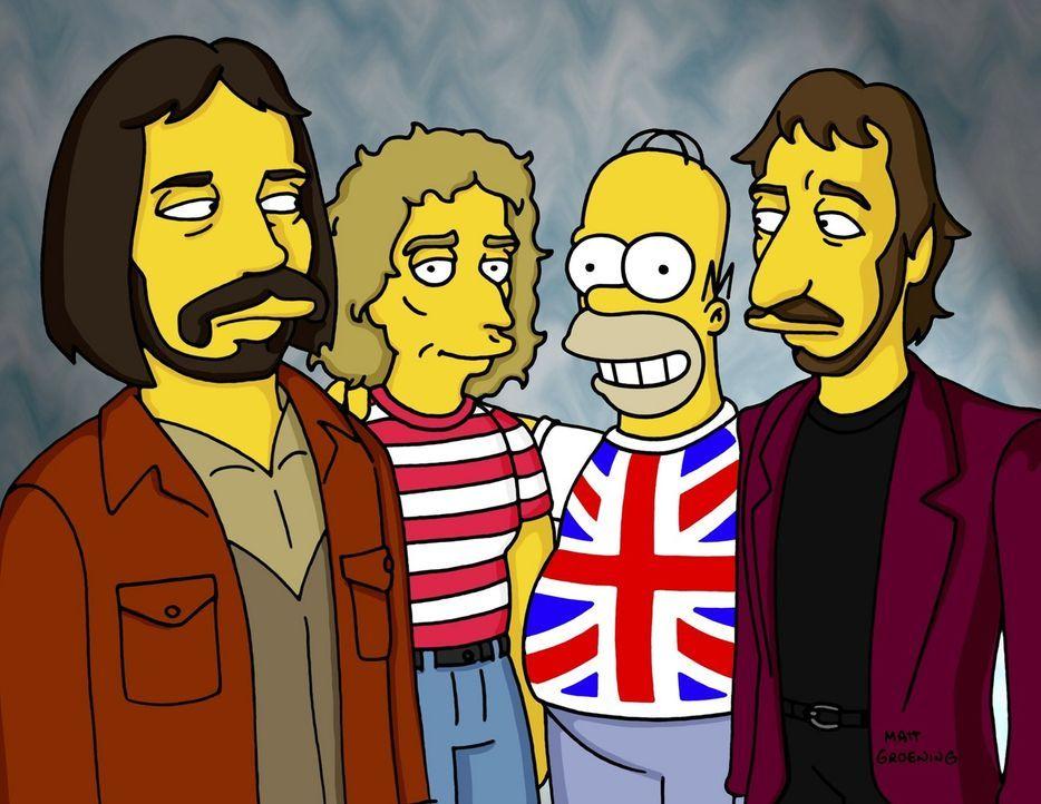 """Als neuer Bürgermeister lädt Homer (2.v.r.) die Rockgruppe """"The Who"""" ein. - Bildquelle: TM +   2000 Twentieth Century Fox Film Corporation. All Rights Reserved."""