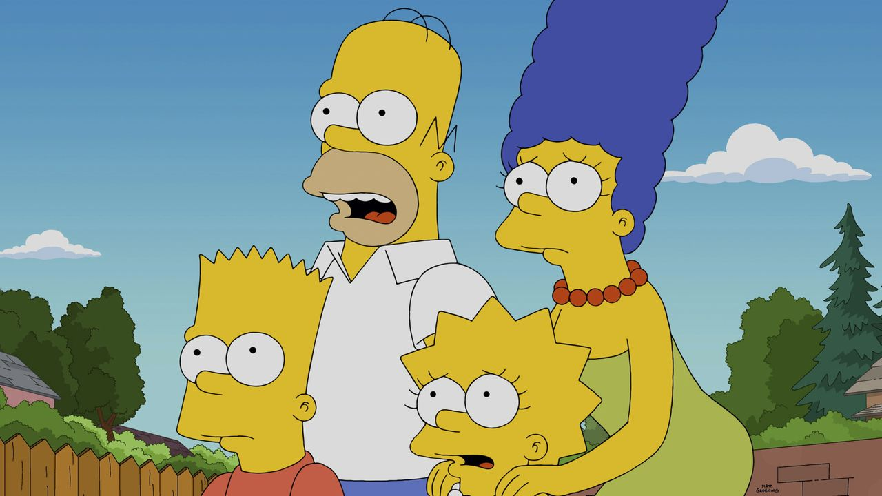 Erleben eine Energierevolution, nachdem Elon Musk in Springfield landet: (v.l.n.r.) Bart, Homer, Lisa und Marge ... - Bildquelle: 2014 Twentieth Century Fox Film Corporation. All rights reserved.