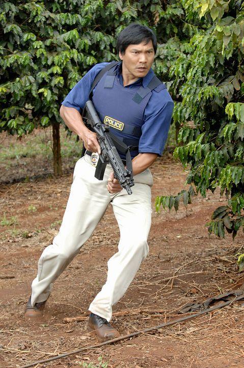 Der Polizist Kaleo (Jason Scott Lee), ein Kollege von Meka, unterstützt das Team bei der Aufklärung des Mordes an Meka. Doch dabei geht einiges schi... - Bildquelle: TM &   2010 CBS Studios Inc. All Rights Reserved.