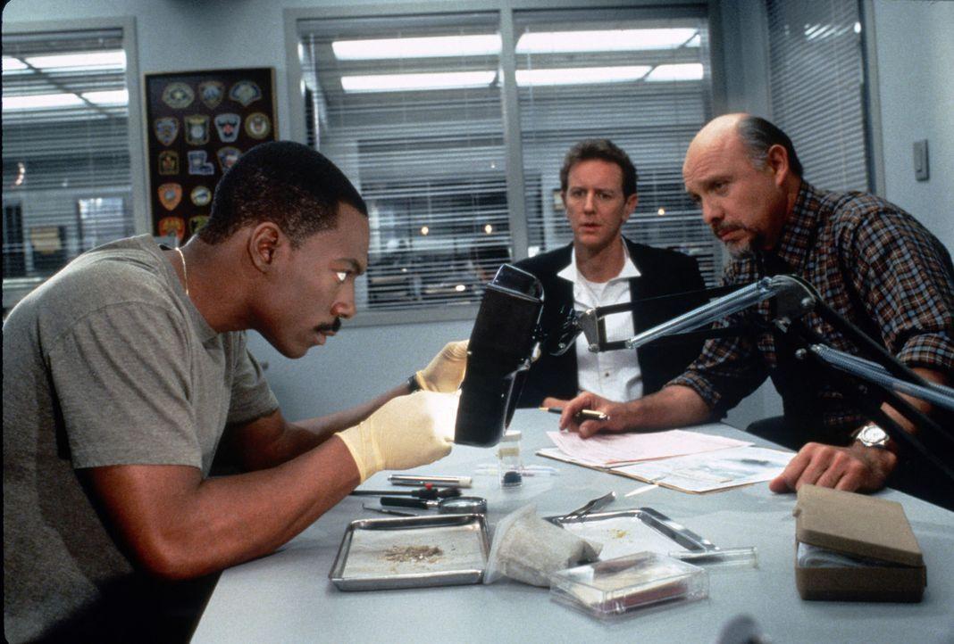 Zurück in Beverly Hills mischt Axel (Eddie Murphy, l.) seine Polizei-Kollegen Billy (Judge Reinhold, M.) und Joe (Hector Elizondo, r.) auf. Und sei... - Bildquelle: Paramount Pictures