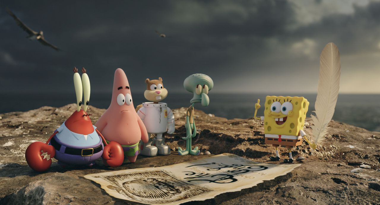 Plötzlich auf der Pelikan-Insel gestrandet: (v.l.n.r.) Mr. Krabs, Patrick, Sandy Cheeks, Thaddäus und Spongebob im Kampf gegen den fiesen Piraten Bu... - Bildquelle: (2016) Paramount Pictures and Viacom International Inc. All Rights Reserved. SPONGEBOB SQUAREPANTS is the trademark of Viacom International Inc.