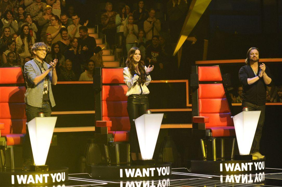 """Die Coaches von """"The Voice Kids"""" (v.l.n.r.): Tim Bendzko, Lena Meyer-Landrut und Henning Wehland - Bildquelle: Christoph Assmann SAT.1"""