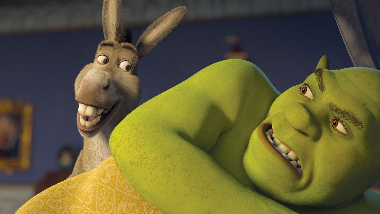 Am Sterbebett verrät der König seinem Schwiegersohn Shrek, dass es einen Ausweg gibt, der ihn von seinen Pflichten als König befreien könnte: de... - Bildquelle: TM &   2007 Dreamworks Animation LLC