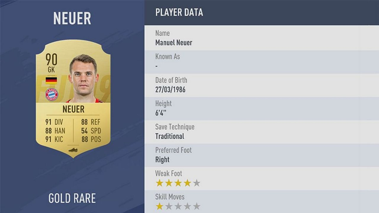 Manuel Neuer - Rating: 90 - Bildquelle: EA Sports