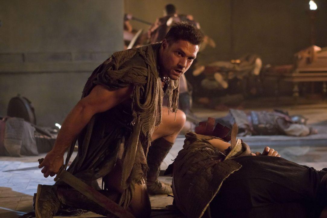 Auf der verzweifelten und blutigen Suche nach Naevia: Crixus (Manu Bennett) ... - Bildquelle: 2011 Starz Entertainment, LLC. All rights reserved.