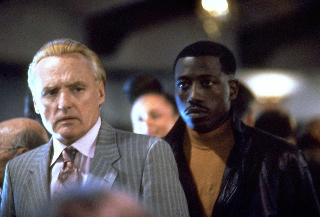 Immer wieder kreuzen sich die Wege des Polizisten Mercer (Wesley Snipes, r.), der den Mord an einem Kollegen aufklären soll, und dem glücklosen Fa... - Bildquelle: Warner Bros.