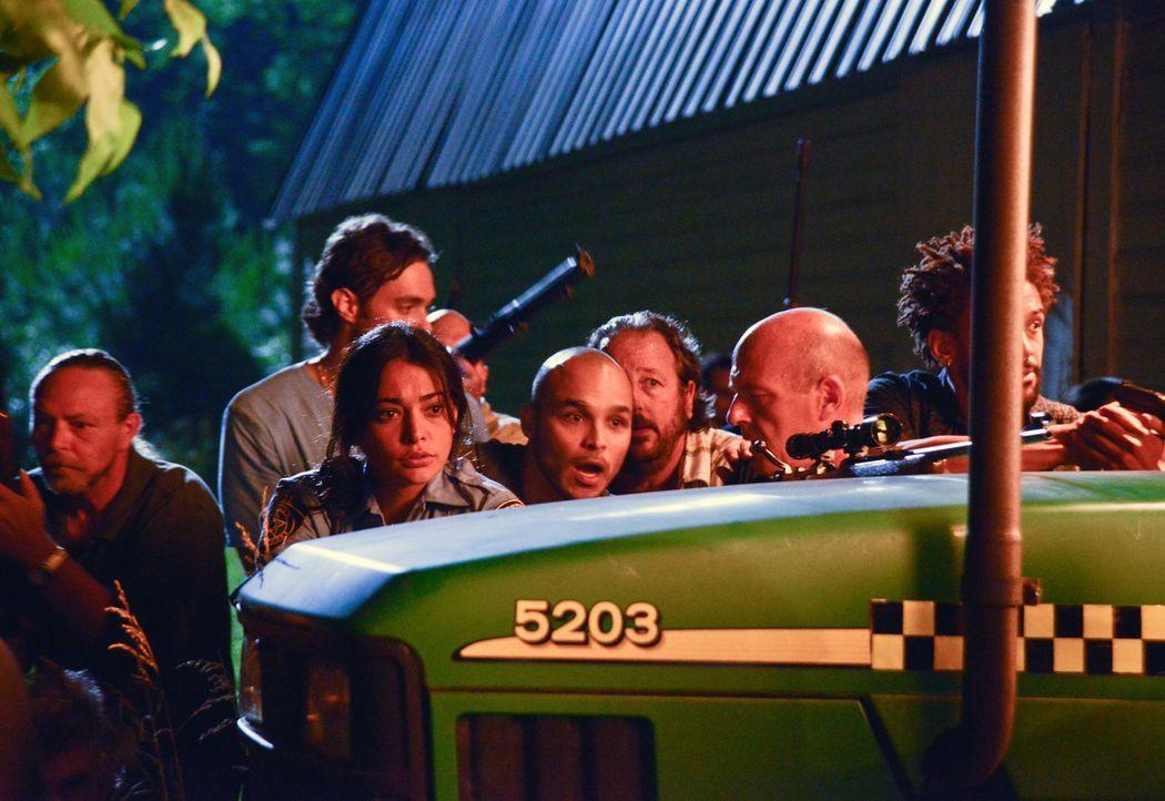 Der Kampf ums Überleben geht weiter: Linda (Natalie Martinez, 2.v.l.), Big Jim (Dean Norris, 2.v.r.) und Phil (Nicholas Strong, r.) ... - Bildquelle: 2013 CBS Broadcasting Inc. All Rights Reserved
