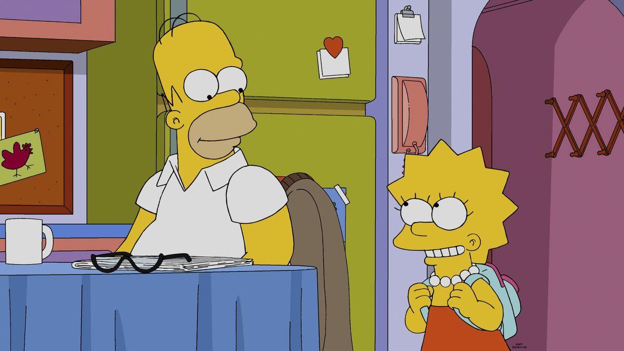 Auch, wenn die Anzahl der weiblichen Besucher im Atomkraftwerk erschreckend gering ist, freut sich Lisa (r.) darauf, den Arbeitsplatz ihres Vaters H... - Bildquelle: 2014 Twentieth Century Fox Film Corporation. All rights reserved.