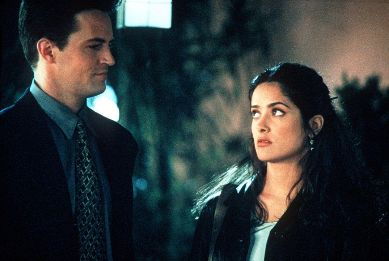 Alex (Matthew Perry, l.) und Isabel (Salma Hayek, r.) können's nicht fassen: Die stürmische Liebesnacht bleibt nicht ohne Folgen ... - Bildquelle: Columbia Tri-Star