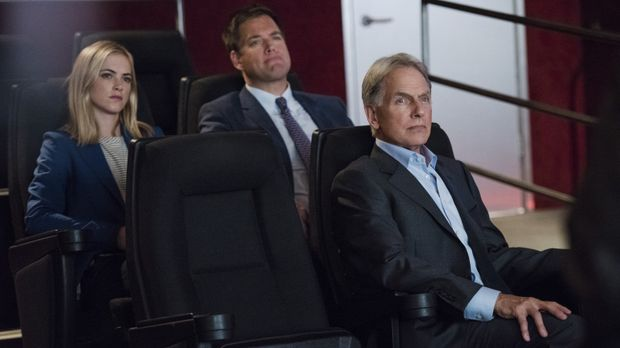 Das Team um Gibbs (Mark Harmon, r.), DiNozzo (Michael Weatherly, M.) und Bish...
