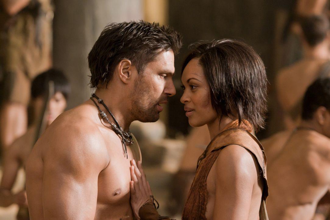 Crixus (Manu Bennett, l.) führt Naevia (Cynthia-Addai Robinson, r.) in diverse Kampftechniken ein. Schon bald gewinnt die junge Sklavin ihre Lebens... - Bildquelle: 2011 Starz Entertainment, LLC. All rights reserved.