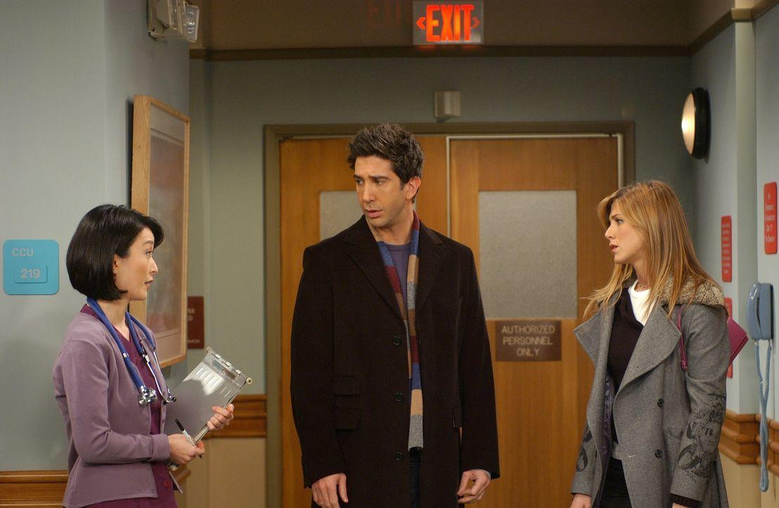 Als Rachel (Jennifer Aniston, r.) erfährt, dass ihr Vater einen Herzinfarkt erlitten hat, fährt sie mit Ross (David Schwimmer, M.) sofort zu ihm ins... - Bildquelle: 2003 Warner Brothers International Television