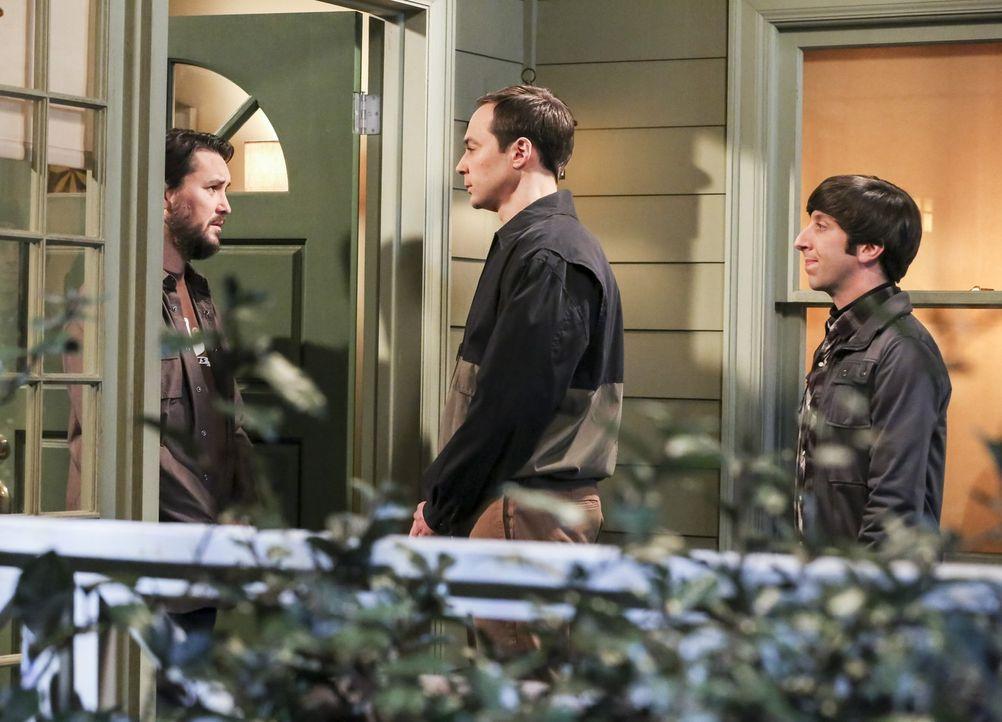 Sheldon (Jim Parsons, M.) und Howard (Simon Helberg, r.) statten Wil (Wil Wheaton, l.) einen Besuch ab, in der Hoffnung, dass dieser sich darauf ein... - Bildquelle: Warner Bros. Television