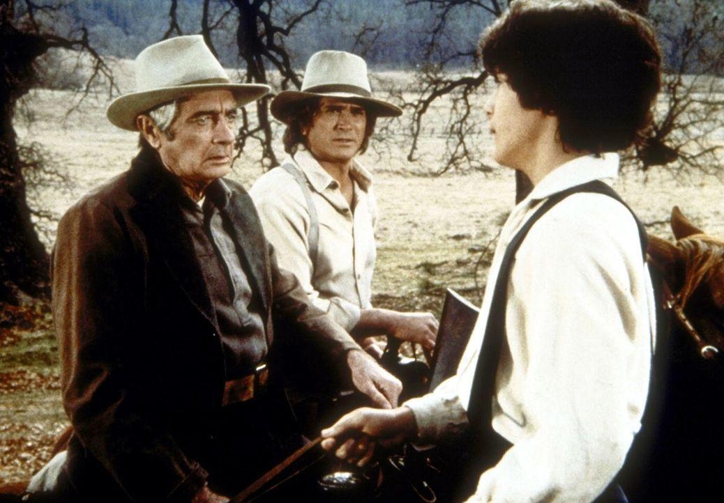 Albert Ingalls (Matthew Laborteaux, r.) belügt seinen Vater Charles (Michael Landon, M.) und Mr. Hector Webb (Royal Dano, l.), indem er behauptet, e... - Bildquelle: Worldvision
