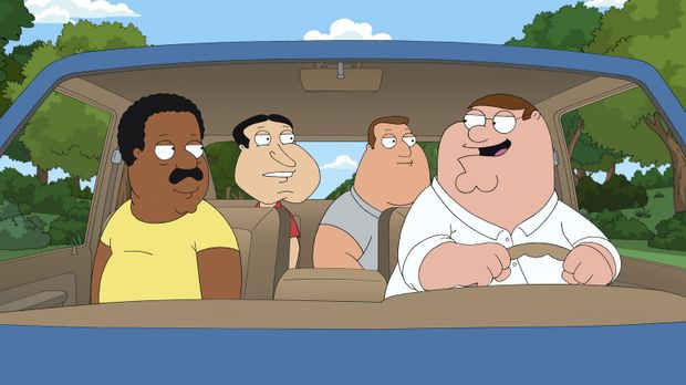 Peter (r.), Cleveland (l.), Joe (2.v.r.) und Quagmire (2.v.l.) beschließen, e...