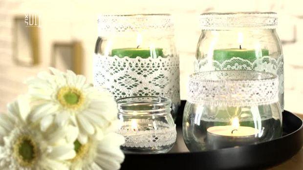 windlichter mit spitze selber machen diy. Black Bedroom Furniture Sets. Home Design Ideas