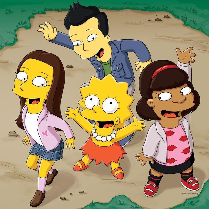 Im Künstlercamp findet Lisa endlich die Freunde, die sie sich schon immer gewünscht hat: Sarah (l.), Flynn (hinten M.), Aiesha (r.) und Lisa (M.) - Bildquelle: und TM Twentieth Century Fox Film Corporation - Alle Rechte vorbehalten