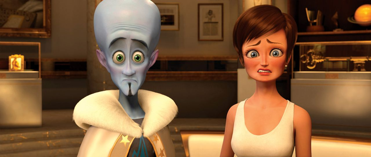 Den Machtwechsel in Metro City haben sich Roxanne Ritchie (r.) und vor allem Megamind (l.) irgendwie spannender vorgestellt ... - Bildquelle: MEGAMIND TM &   2012 DreamWorks Animation LLC. All Rights Reserved.