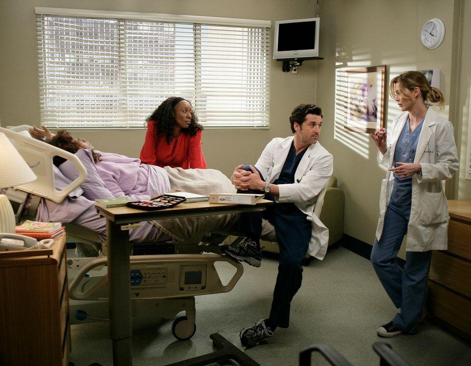 Während sich Meredith (Ellen Pompeo, r.), Derek (Patrick Dempsey, 2.v.r.) und Gretas Schwester (April Grace, 2.v.l.) mit der Frage beschäftigen, o... - Bildquelle: Touchstone Television
