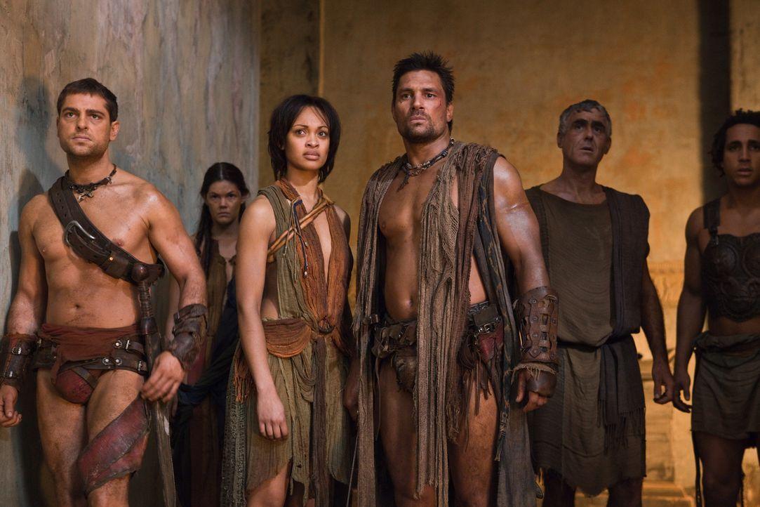 Wollen bei den Aufständischen bleiben: Crixus ( Manu Bennett, 3.v.r.) und Naevia (Cynthia-Addai Robinson, 3.v.l.) ... - Bildquelle: 2011 Starz Entertainment, LLC. All rights reserved.