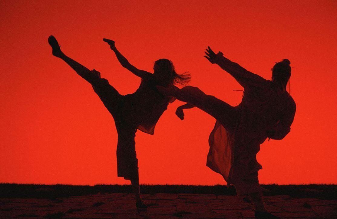 Die jahrelange, knochenharte Kung-Fu-Ausbildung bei Meister Pai Mei (Chia Hui Liu, r.) war für die Black Mamba (Uma Thurman, l.) durchaus lohnenswe... - Bildquelle: Miramax Films. All rights reserved
