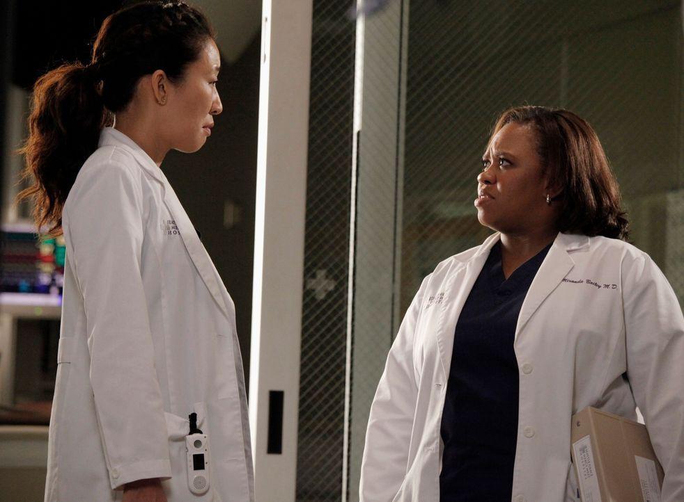 Während Cristina (Sandra Oh, l.) und Owen versuchen einen Weg zu finden um mit ihrer eingefahrenen Situation fertig zu werden, streitet sich Bailey... - Bildquelle: ABC Studios