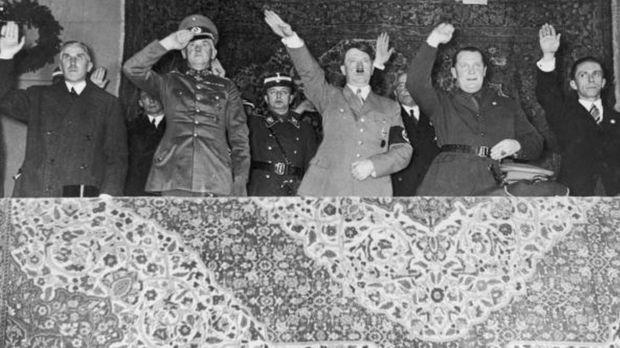 1935: (v.l.n.r.) Franz von Papen, Werner von Blomberg, Adolf Hitler, Hermann...