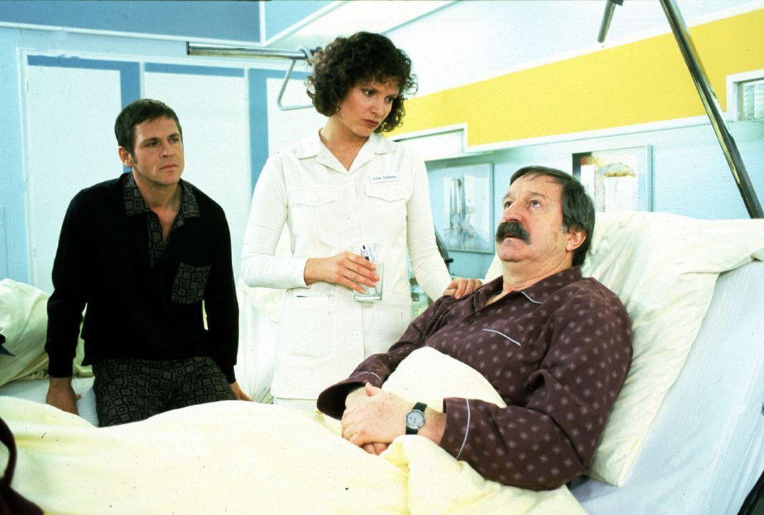 Friedrich (Horst Weinheimer, r.) hat große Schmerzen. Stefanny (Julia Hentschel, M.) und sein Bettnachbar Hardy (Tobias Hoesl, l.) versuchen ihn auf... - Bildquelle: Noreen Flynn Sat.1